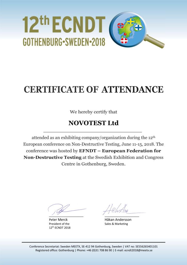 ECNDT2018 Certificate of attendance NOVOTEST